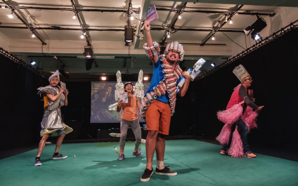 (L-R) Performers Roger Liew, Lee Ren Xin, Faiq Syazwan Kuhiri and Imri Nasution in Version 2020 (KL). Photo credit: Bryan Chang, courtesy of Five Arts Centre.