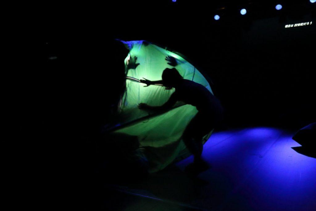 Evocative illuminated mobile tent, internally powered by the movements of Faiq Syazwan Kuhiri, Version 2020 (Tokyo). Photo credit: Masahiro Hasunuma.